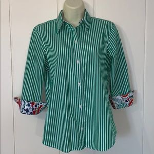 Chaps green& white striped no iron shirt